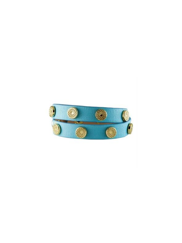 Turquoise Leather Wrap with Gold Studs