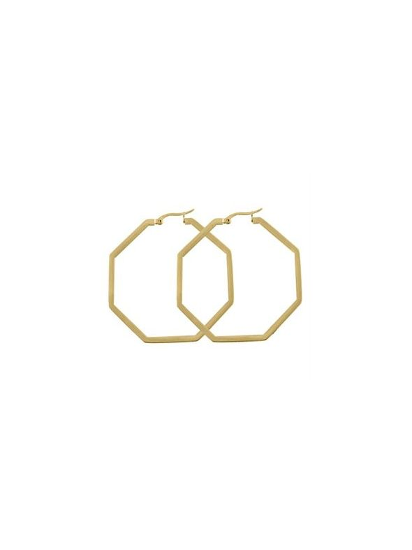 Gold Octagonal Hoops